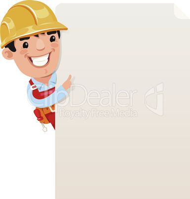 Builder looking at blank poster