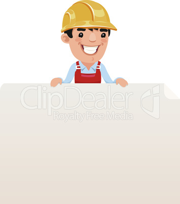 Builder looking at blank poster on top