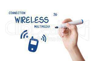 Woman drawing wireless multimedia content on virtual board