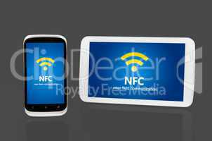 Mobile devices with NFC chip. Wireless communication and payment
