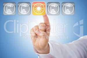 Finger Activating Yellow Solar Energy Icon On Blue