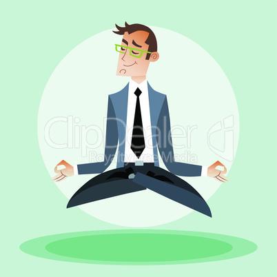 Businessman engaged in yoga