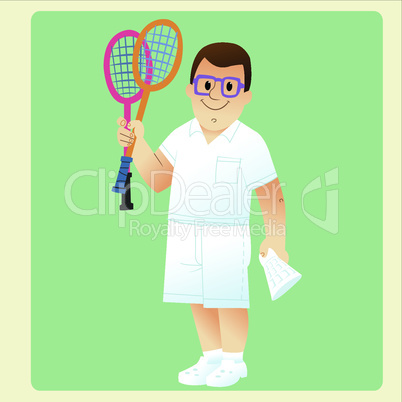 A complete man is exercising plays badminton