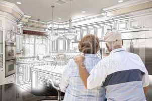 Senior Couple Looking Over Custom Kitchen Design Drawing and Pho