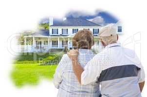 Daydreaming Senior Couple Over Custom Home Photo Thought Bubble