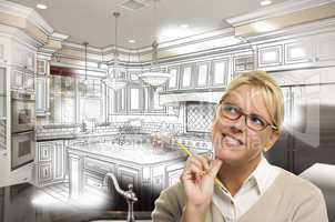 Woman With Pencil Over Custom Kitchen Design Drawing and Photo