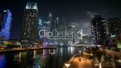 famous place River Walk And Dubai Marina with skyscraper