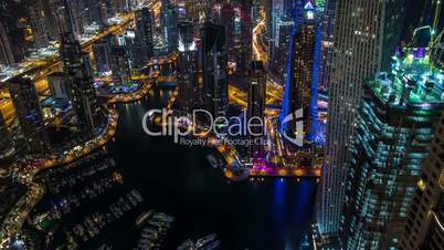time lapse aerial view Sheikh Zayed Road with Dubai Marina