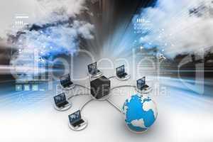 laptop with big server Net Work firewall. 3D Image