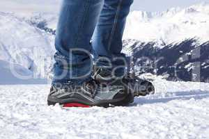Safety shoes in the snowy mountains