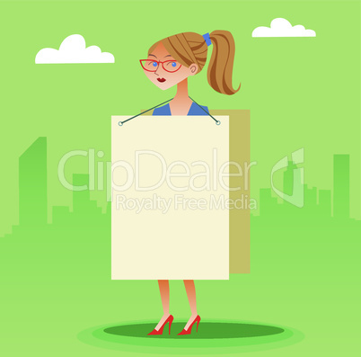 businesswomen with a poster and place for text