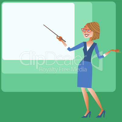 Presentation businesswomen shows on the screen