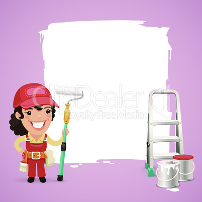 Female Painter With Text Box