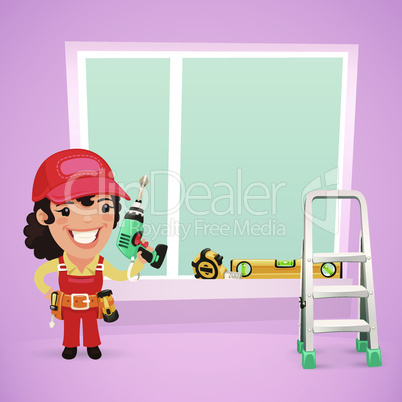 Female Worker Is Installing the Window