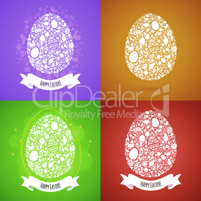Four Easter Egg Card of White Objects on Color Background