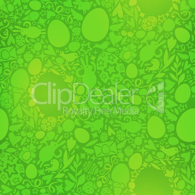Easter Seamless Pattern in Green Colors