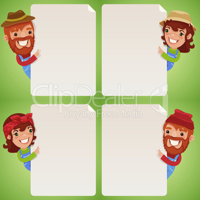 Farmers Cartoon Characters Looking at Blank Poster Set