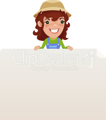 Female Farmer looking at Blank Poster on Top