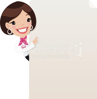 Female Manager Looking at Blank Poster