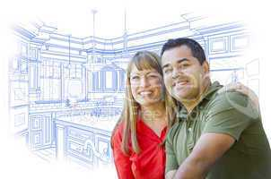 Mixed Race Couple Over Kitchen Design Drawing on White