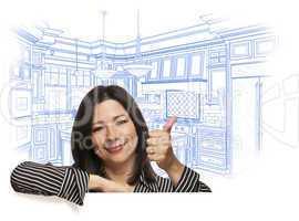 Hispanic Woman with Thumbs Up, Custom Kitchen Drawing Behind