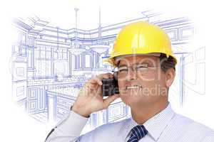 Contractor in Hardhat on Phone Over Custom Kitchen Drawing