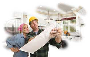 Contractor Discussing Plans with Woman, Kitchen Photo Behind