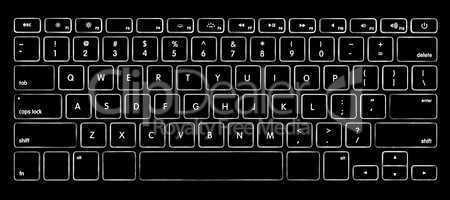 computer keyboard with illuminated backlight.