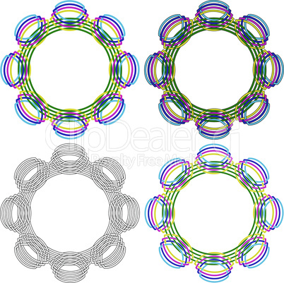 Four circular shapes same as a wicker pattern