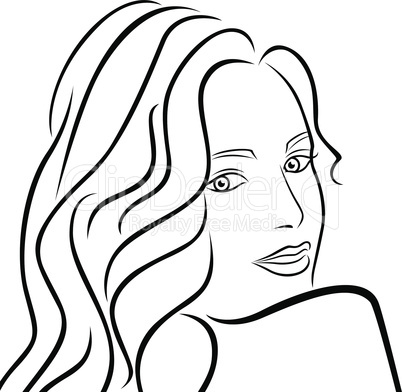 Abstract female half turn portrait