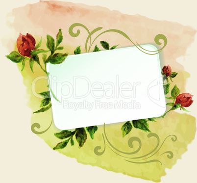 aquarelle frame with roses