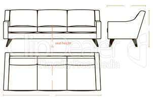 Basic dimensions of the sofa
