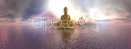 Buddha and aum symbol - 3D render