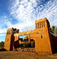 africa  in histoycal maroc  old construction  and the blue cloud