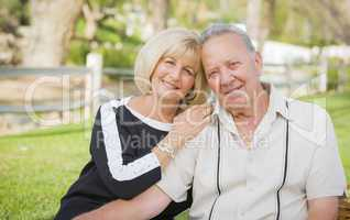 Affectionate Senior Couple Portrait At The Park