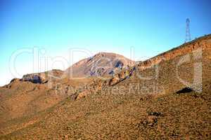 valley in   africa morocco electrical line high voltage power
