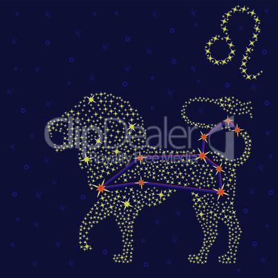 Zodiac sign Leo over starry sky