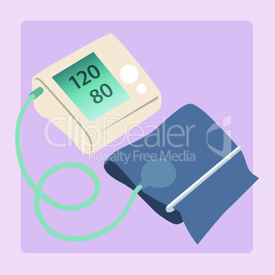 Sphygmomanometer measures blood pressure readings of 120/80