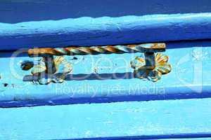 blue metal    morocco in  facade home and safe padlock