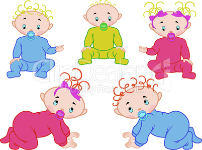 Five babies isolated on white background
