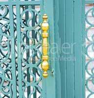 blue metal rusty  brown    morocco in africa  gold padlock