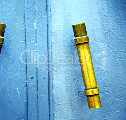 gold  metal rusty      morocco in africa the old blue
