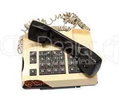 Telephone collection - crashed phone on white background