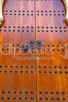 grey metal rusty      morocco in   facade home and safe padlock