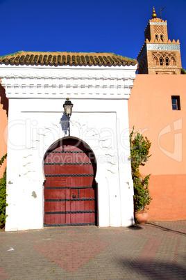 historical marble  in  antique building door morocco    minaret