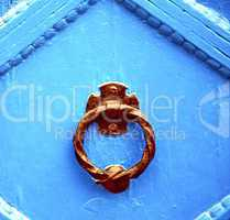 blue metal rusty  brown    morocco in africa the old wood  facad
