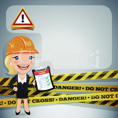 Businesswoman With Danger Tapes