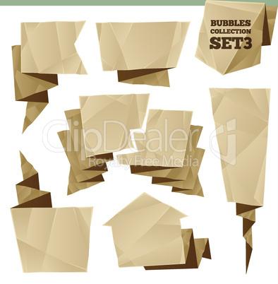 Crumpled Paper Speech Bubbles Collection Set3