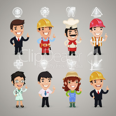 Professions Characters with Icons