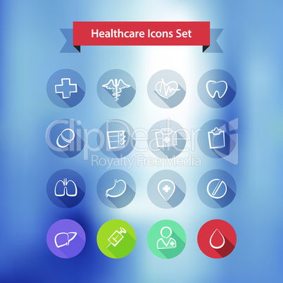 Hospital Blur Background With Flat Icons Set